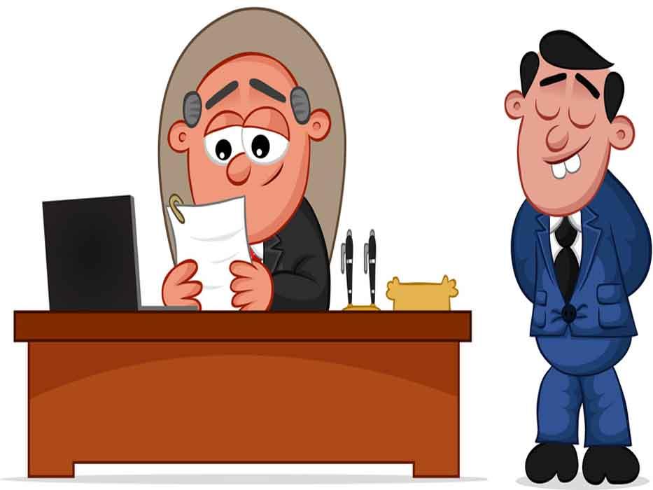 Business Cartoon - Boss Man Happy with Employee